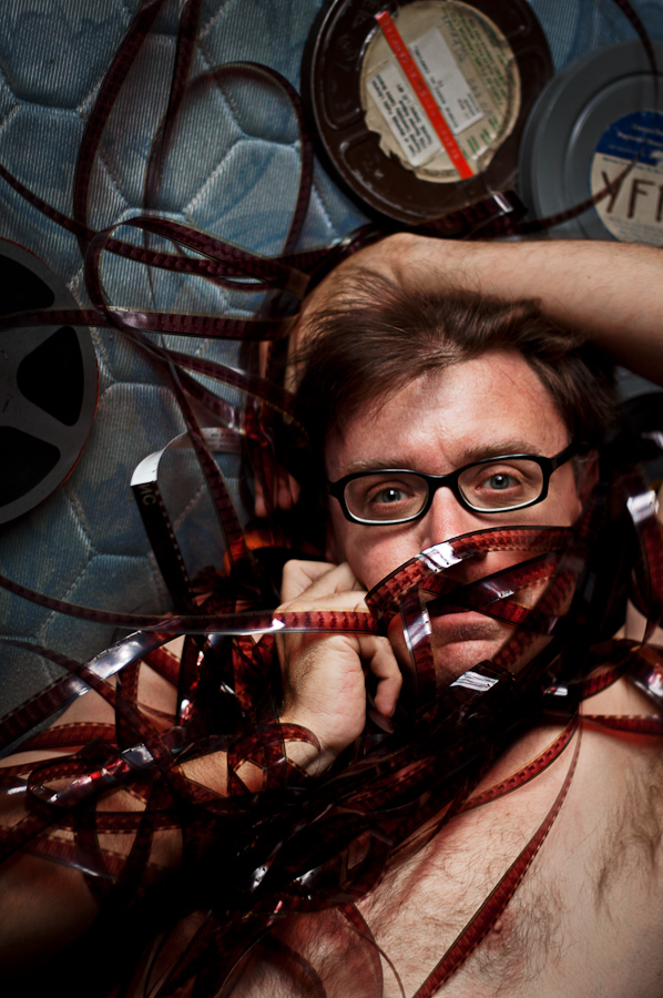 Filmmaker Jonathan Culp wraps himself in film.