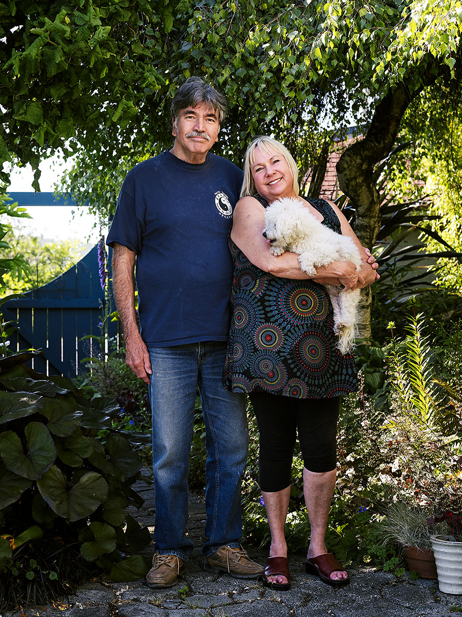 Lionel, Danni and Earl in the garden. Lionel is a Carpenter, Danni is a Ferry Captain and Earl is a Bichon Frise. Sointula British Columbia.