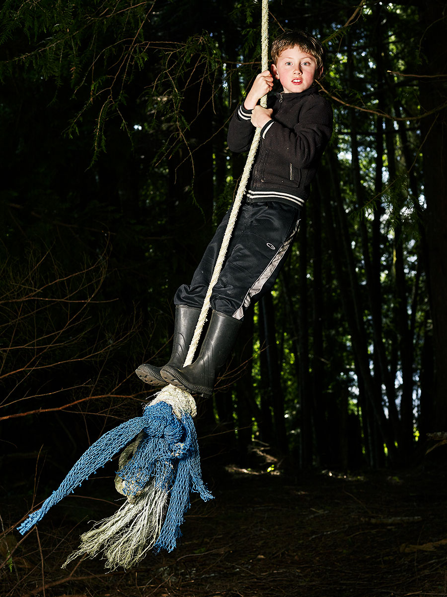 "Loden was ""stoked"" to find this rope swing in the woods behind his house. Sointula, British Columbia."