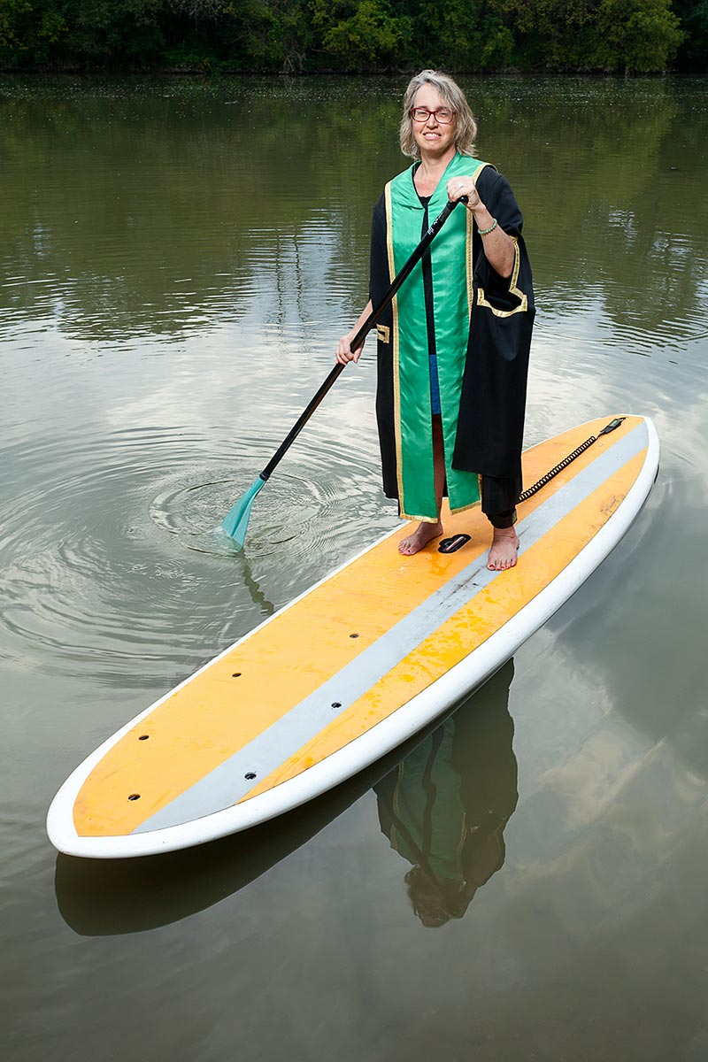 Bonnie McElhinny on a paddleboard on the Humber River