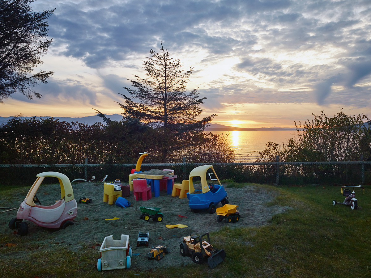 Playground at sunset, Sointula, British Columbia.