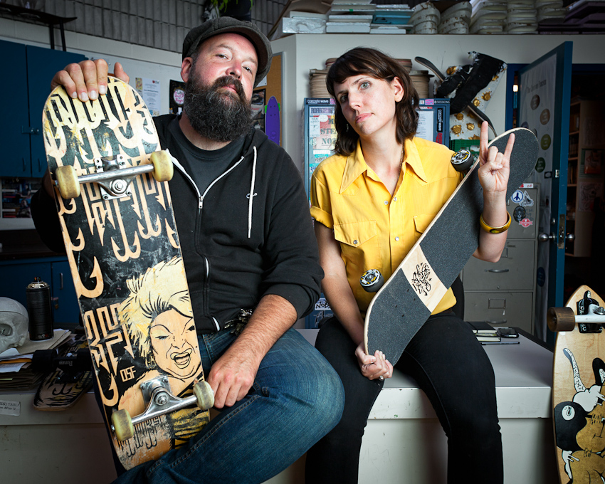 Teachers Craig Morrison and Lauren Hortie at Oasis Skateboard Factory