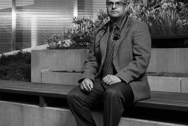 Portrait of Vinay Jindal in the Peace Garden at Nathan Phillips Square in Toronto.