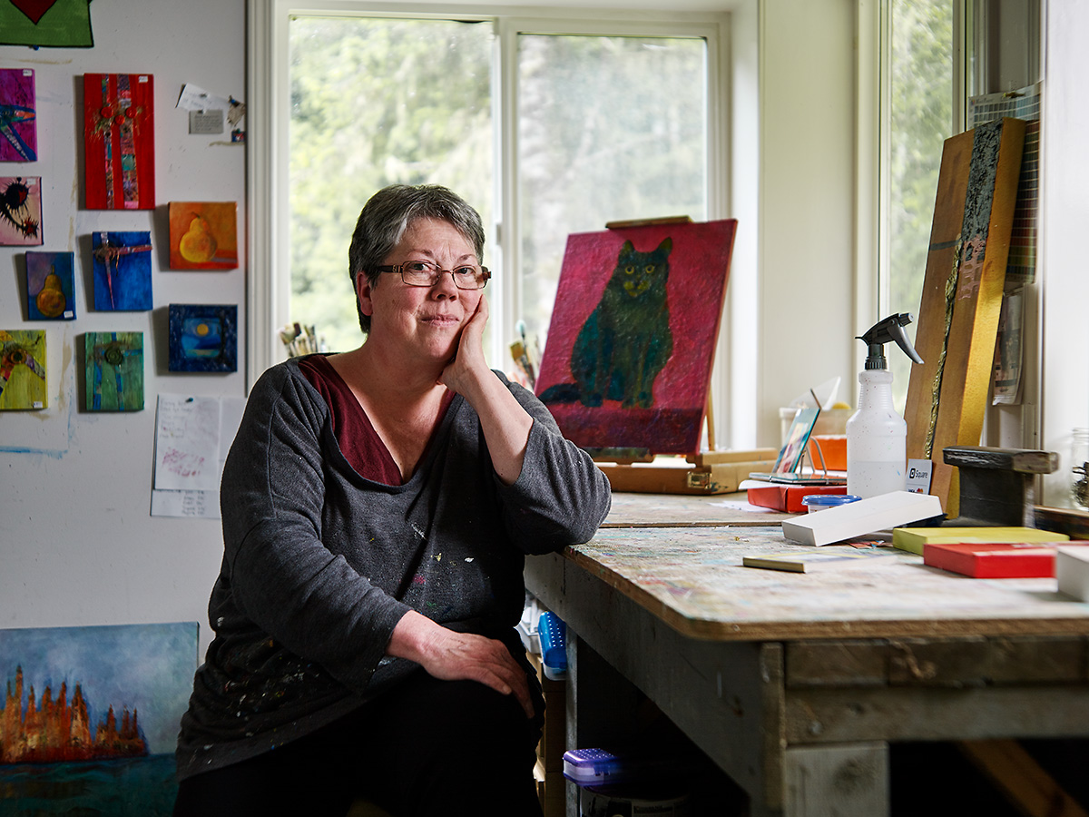 Betty Carlson, Artist. Sointula, British Columbia.
