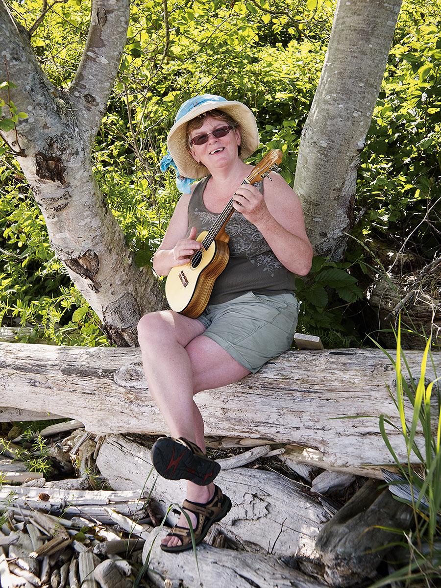 "Jan Joyce Lehde (Strawberry) ""Photographer, Artist, Singer, Musician, Mother, Gardener, Teacher, and Crone."" Sointula, British Columbia."