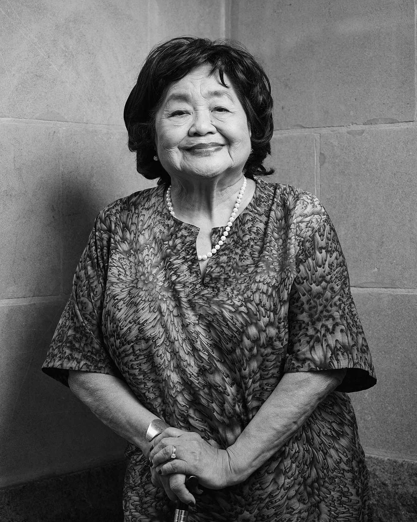Portrait of Setsuko Thurlow in the Peace Garden at Nathan Phillips Square in Toronto.