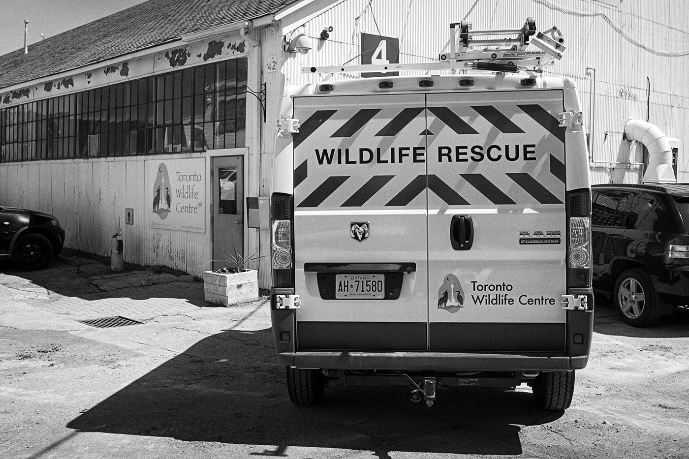 "A van with a sign on it reading ""Wildlife Rescue"" at the Toronto Wildlife Centre"
