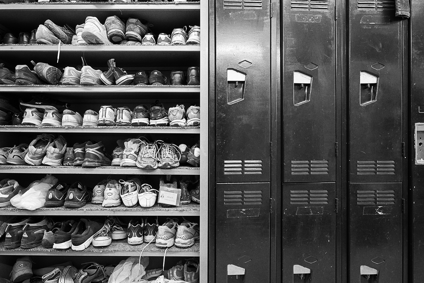 Lockers and racks of shoes at the Toronto Wildlife Centre